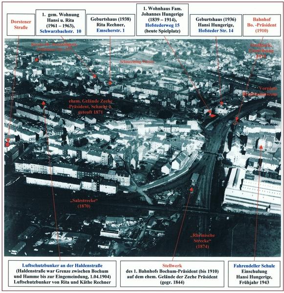 Wohnorte der Familie Hungerige in Bochum seit 1868